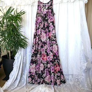 NEW! JEANSWEST black, purple & pink sheer Floral Maxi Dress